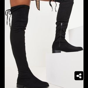PrettyLittleThing Shoes - Black thigh high boot
